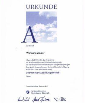 Ziegler Anerkannter Ausbildungsbetrieb 001