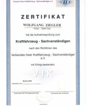 Ziegler Aufnahmeprüfung zum Kraftfahzeug Sachverständigen 001