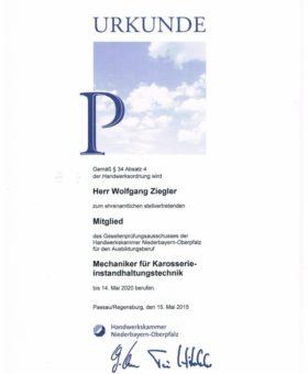 Ziegler Mitglied Gesellenprüfungsausschuss Mech. Karosserieinst 001